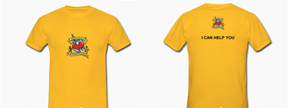 Images showing the front and back of a bright yellow t-shirt with the D&D logo, and the text I can help you printed on it