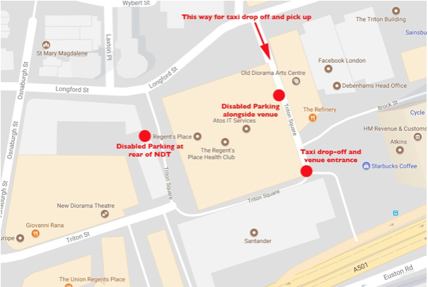A map showing taxi and disabled parking access routes for ND2