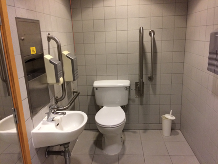 Photograph showing the inside of the wheelchair-accessible toilet at ND2