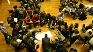 Ariel shot of several break-out sessions at D&D 9.